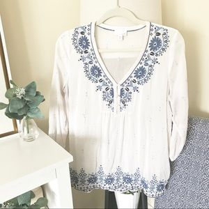 J. JILL / Embroidered Floral Blouse